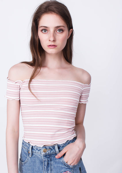 Stripe Bardot Crop Top (Pink)
