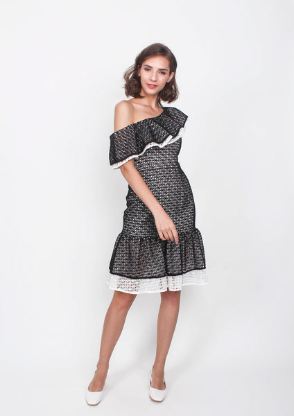 Jasper Ruffled Toga Fit Flare Dress