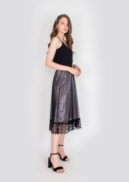 Cara Lace Panel Pleated Midi Skirt  (Black) - Moxie