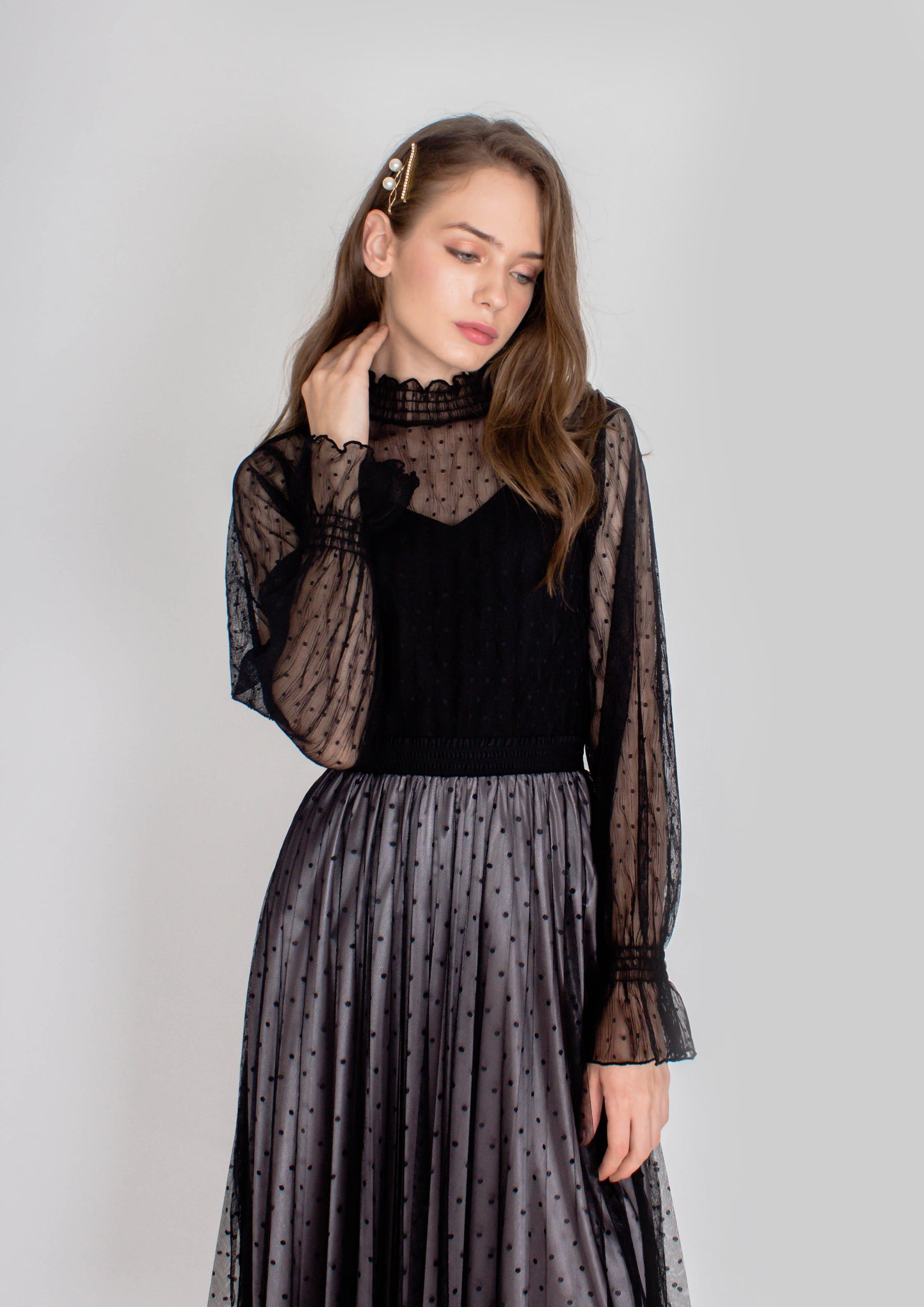 Tulle Dotted Vintage Top (Black) - Moxie