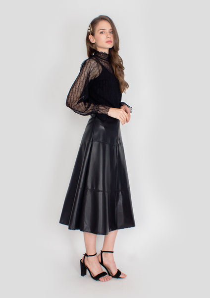 Laurent Pleather Midi Skirt (Black) - Moxie