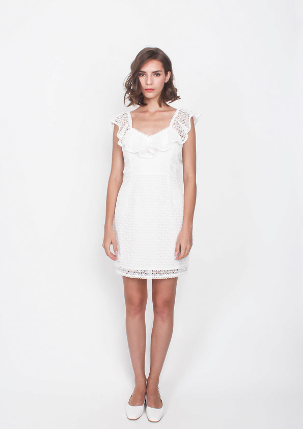 Jasper Ruffled Cut Out Dress (White)