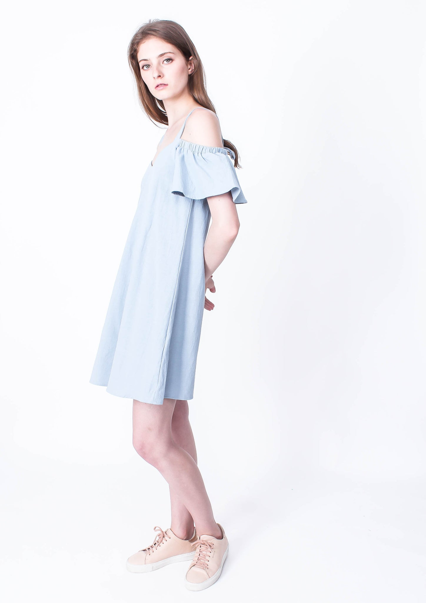Sky High Off Shoulder Dress (Blue)