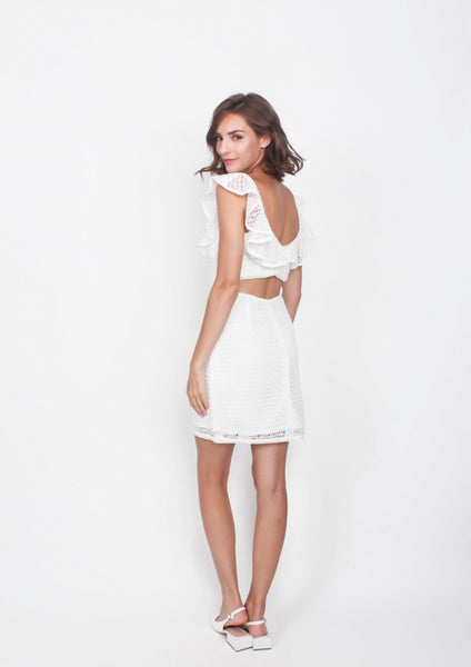 Jasper Ruffled Cut Out Dress (White) - Moxie