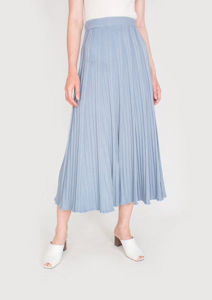 Ava Knit Midi Flare Skirt (Dusty Blue) - Moxie