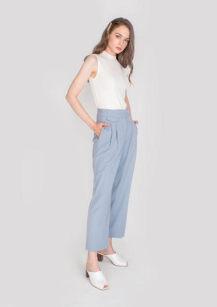 Alexa Belted Trousers (Dusty Blue) - Moxie