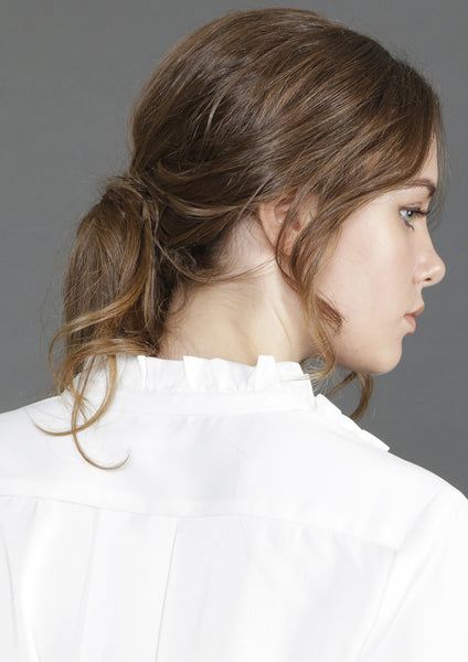 High Neck Ruffled Blouse (White)