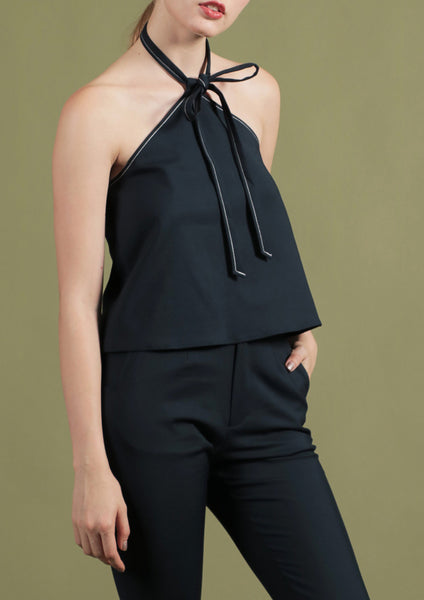 Flare Top with Contrast Stitching (Navy) - Moxie