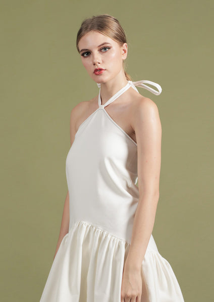 High Neck Dress with Contrast Stitching (White)