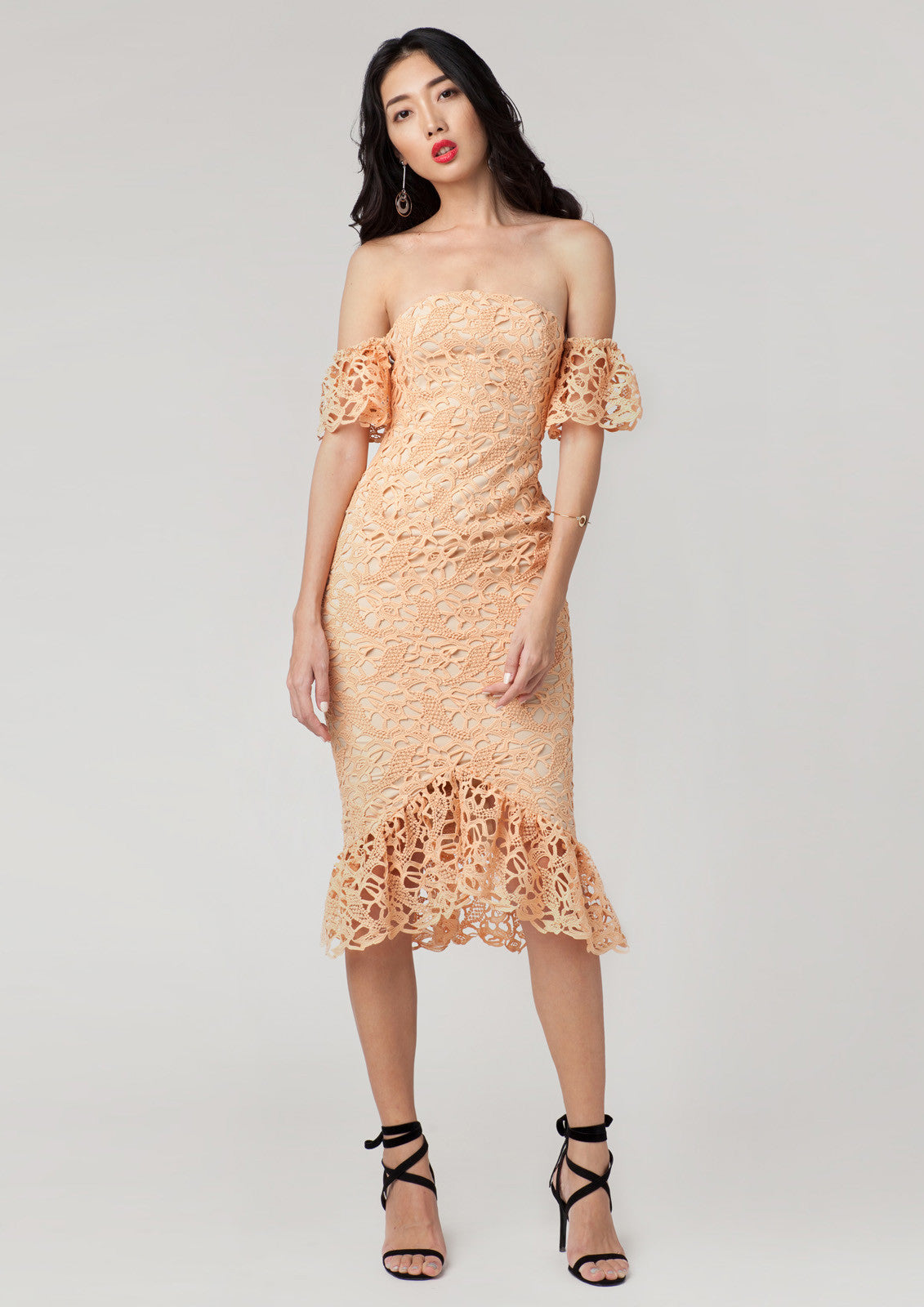 Lily Crochet Off Shoulder Dress (Cream Yellow)