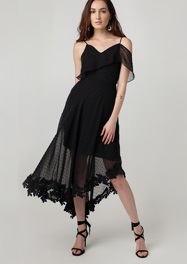 Melrose Asymmetric Chiffon Cami Dress (Black)