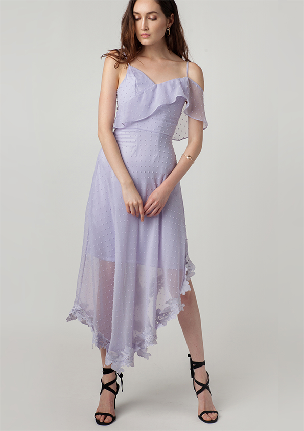 Melrose Asymmetric Chiffon Cami Dress (Lilac)