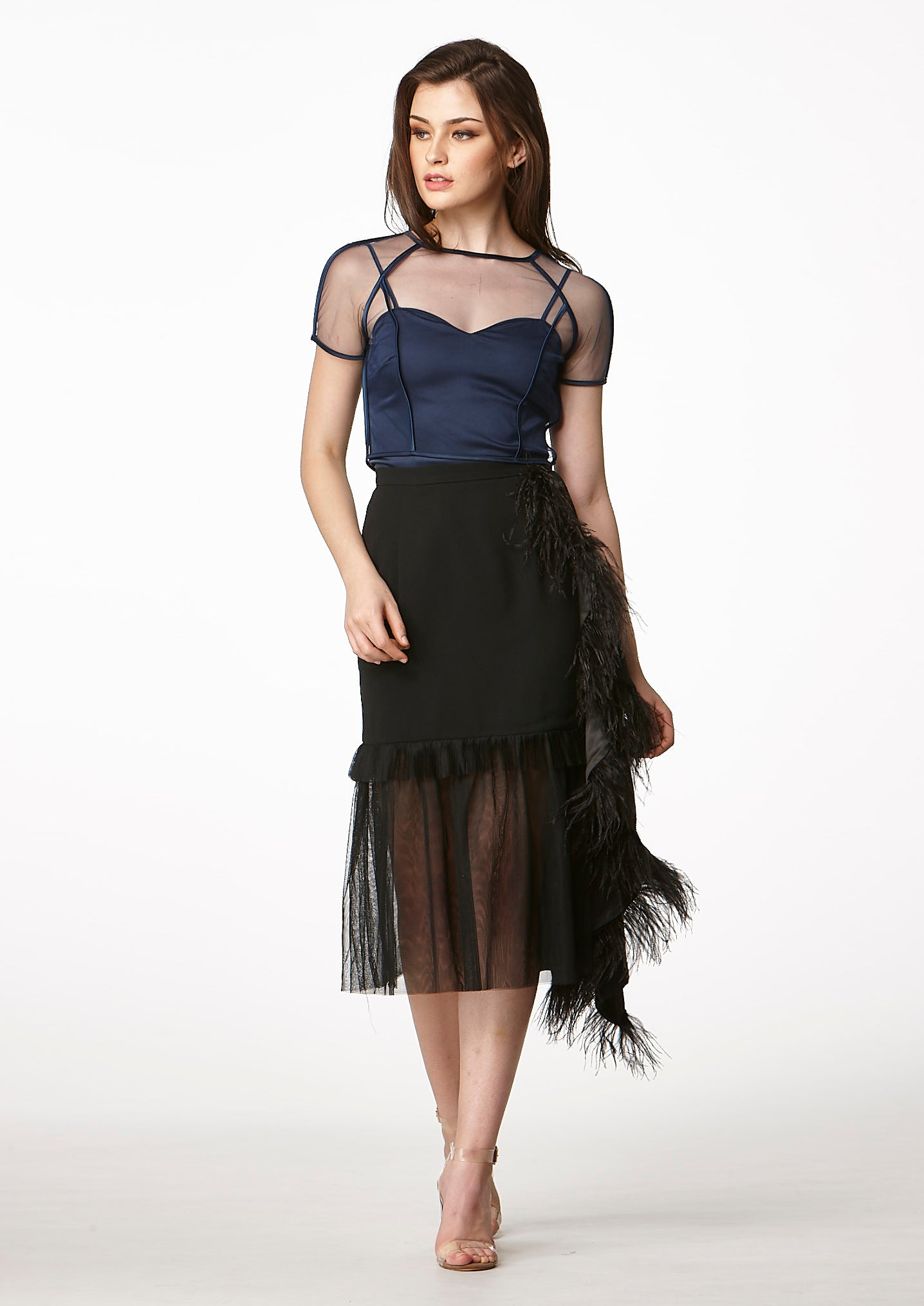 MOS Frills Midi Feather Skirt (Black) - Moxie