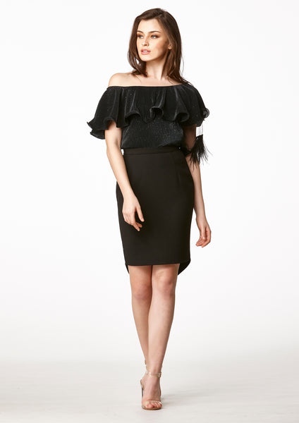 MOS Toga Feather Sleeve Top (Black) - Moxie