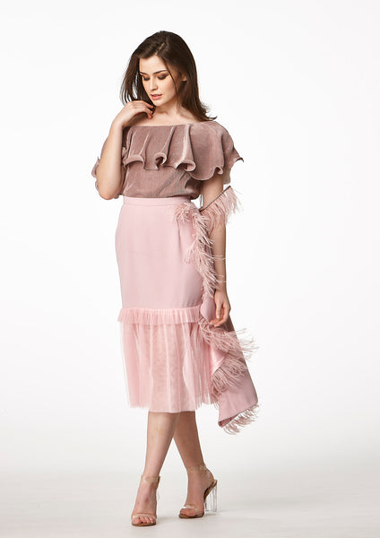 MOS Frills Midi Feather Skirt (Dusty Pink) - Moxie