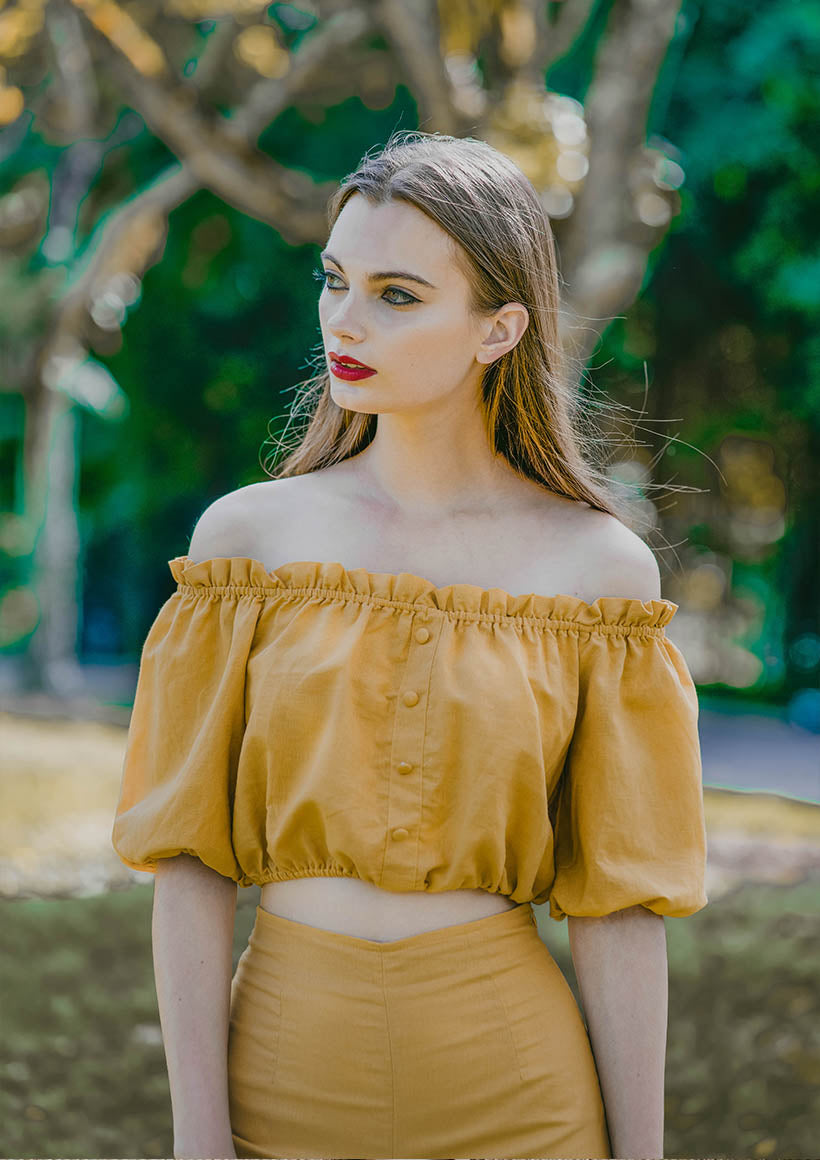 Mia Ruffled Off Shoulder Top (Mustard) - Moxie