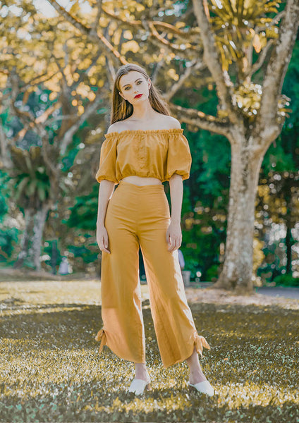 Mia Knotted Pants (Mustard) - Moxie