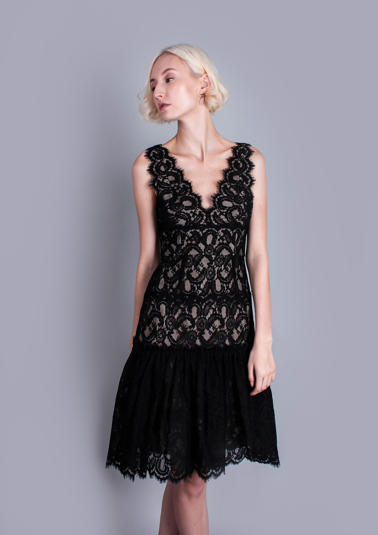 Millie Lace Flared Dress (Black) - Moxie