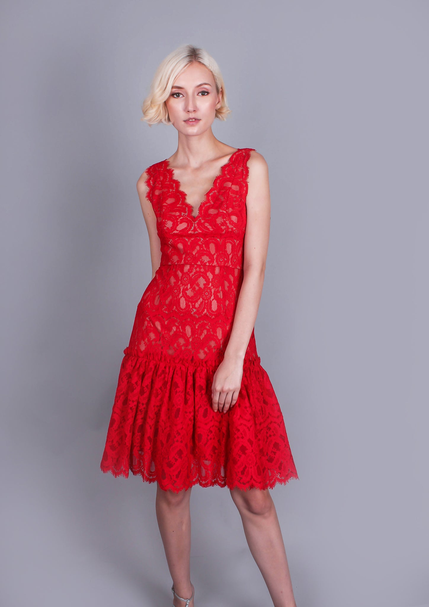 Millie Lace Flared Dress (Rouge)