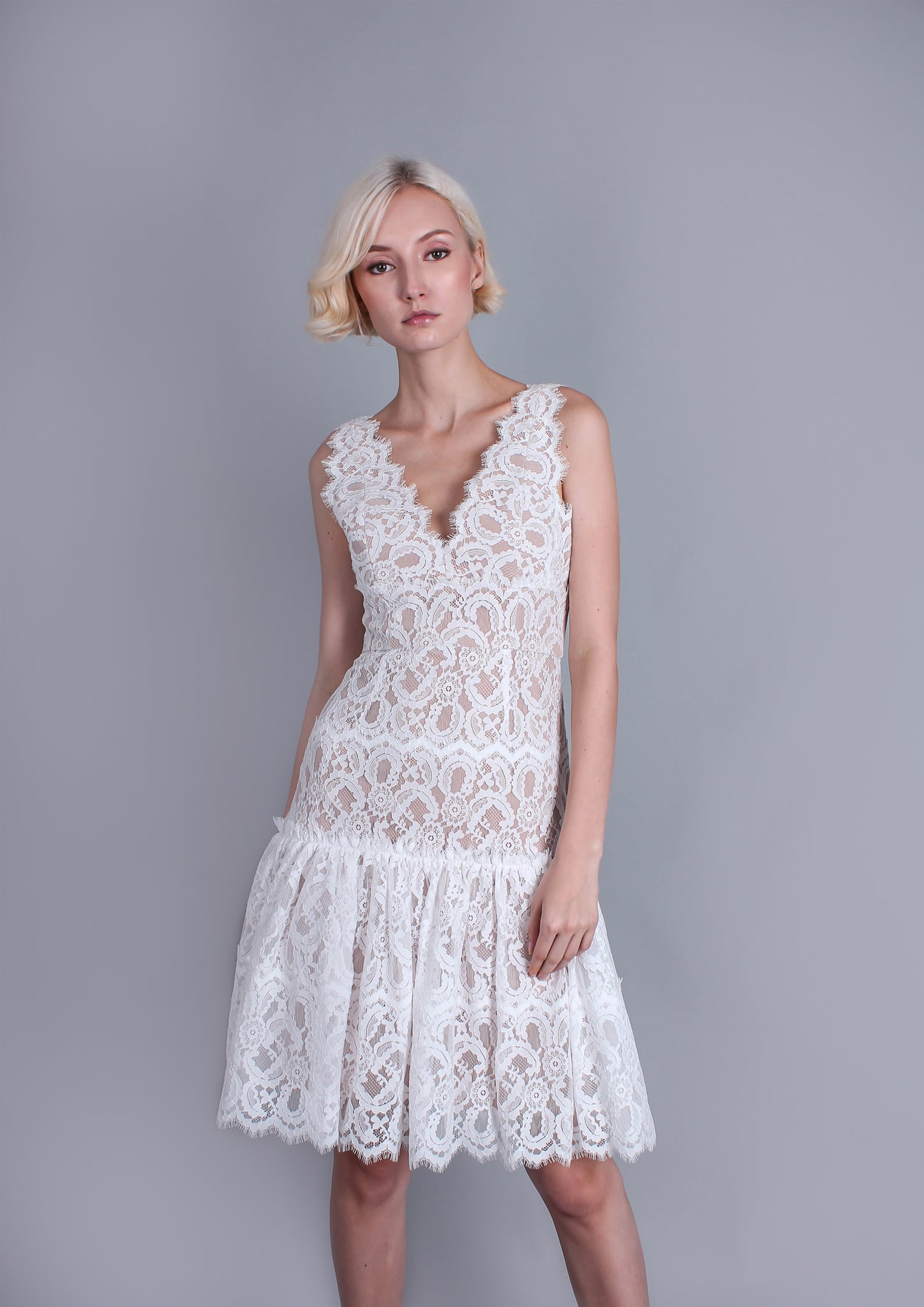 Millie Lace Flared Dress (White)
