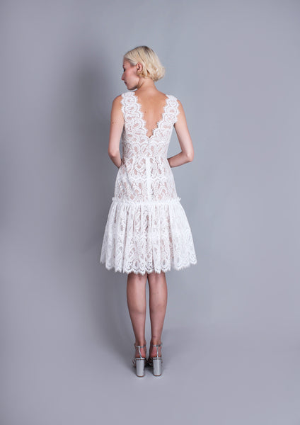 Millie Lace Flared Dress (White) - Moxie