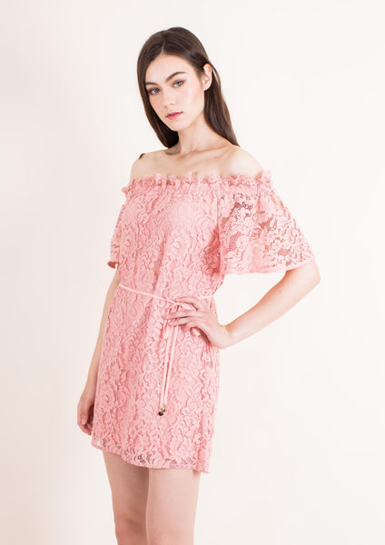 Padova Off Shoulder Dress (Coral Almond)