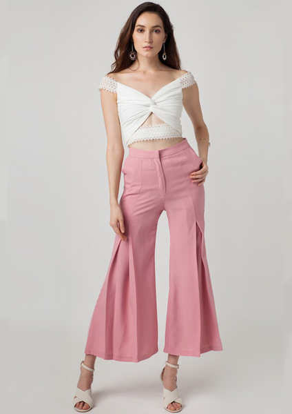 Oasis Pleated Culotte Trim Pants (Pink)