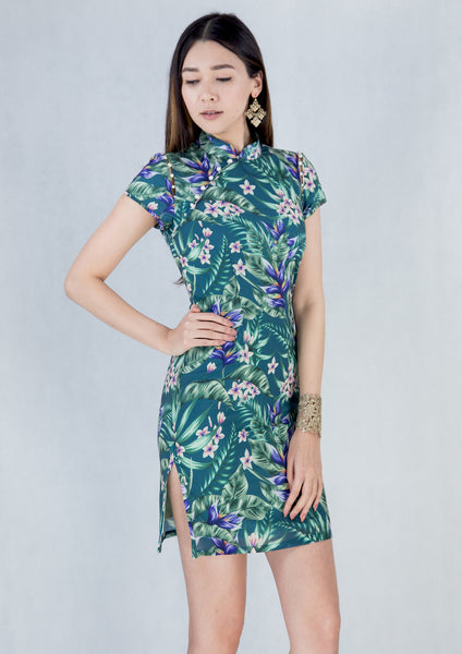 Pearl Detail Qipao (Printed Floral Green)