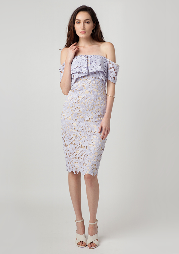 Rosie Crochet Off Shoulder Dress (Lilac)