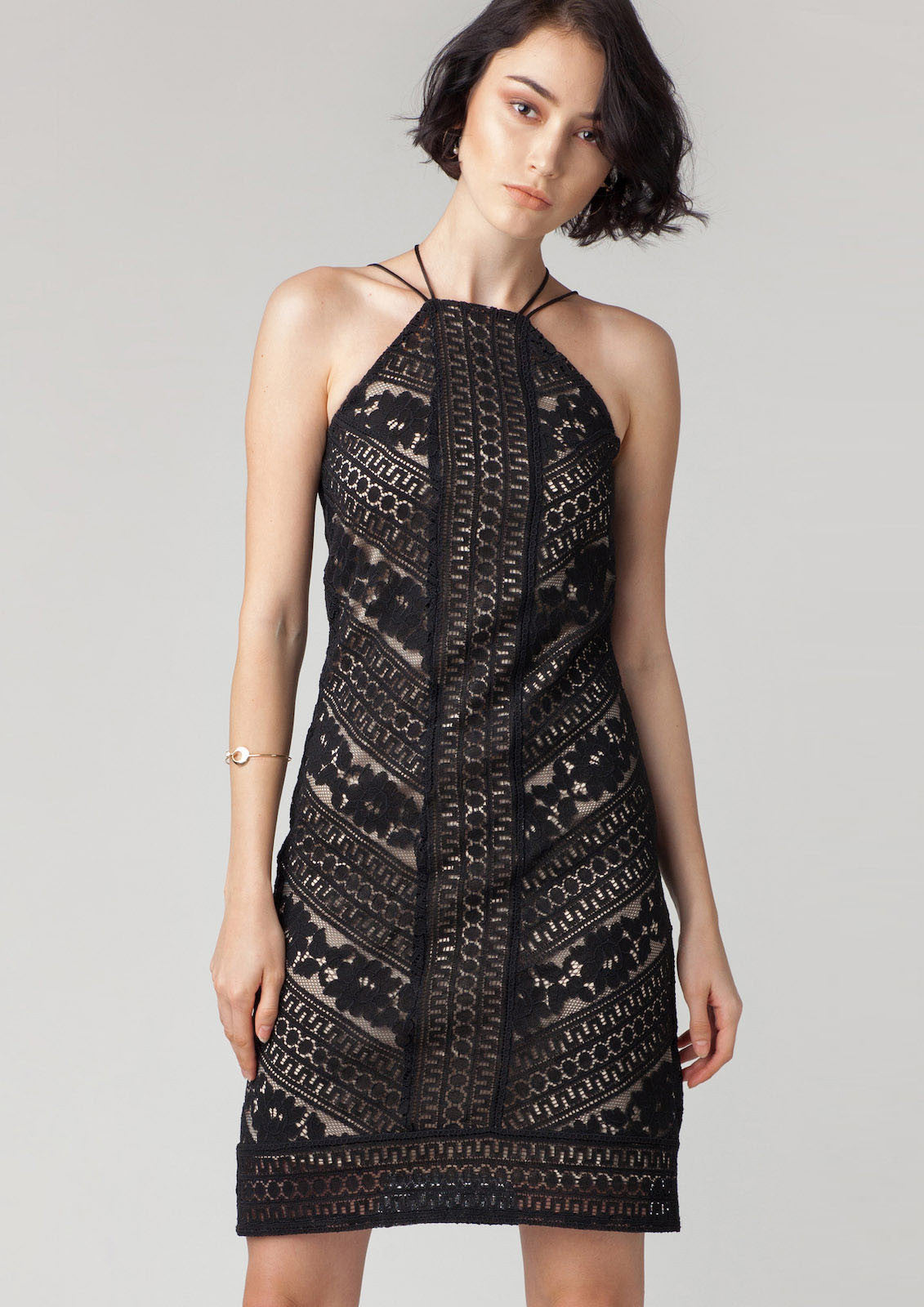 Rowe Lace Halter Neck Dress (Black)