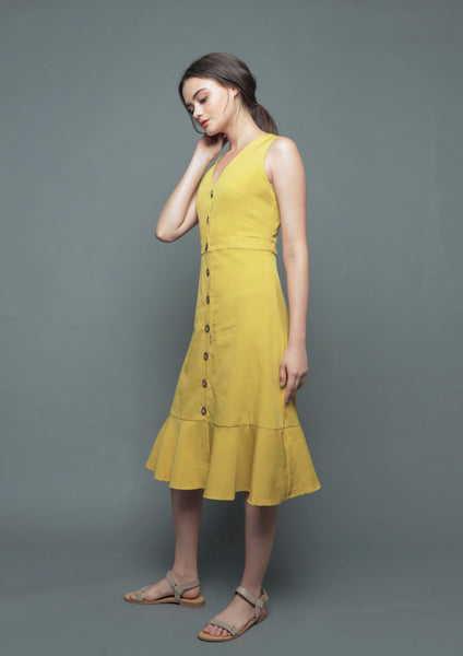 V-Neck Button Dress (Mustard)