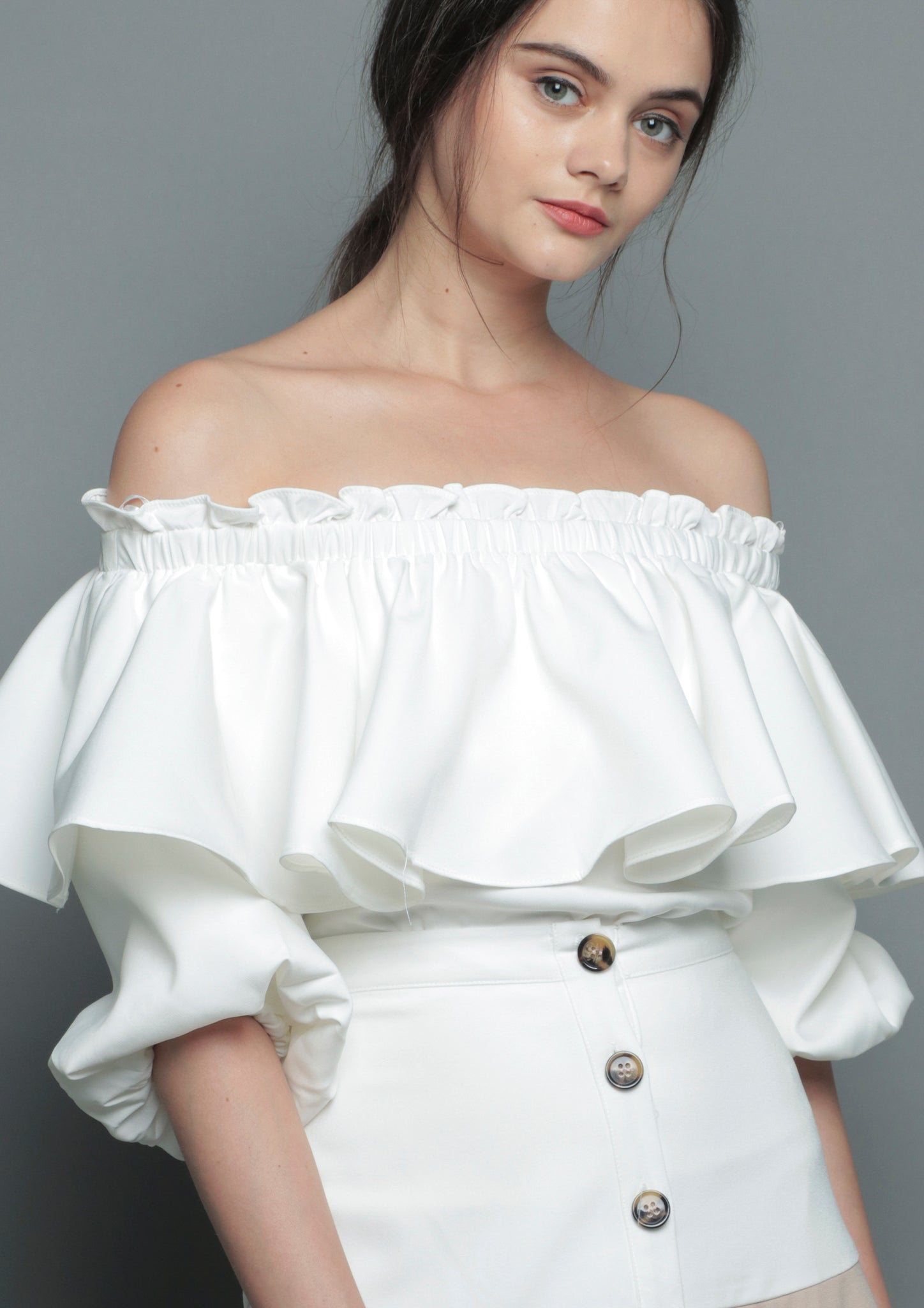 Puffed Sleeve Off-Shoulder Top (White)