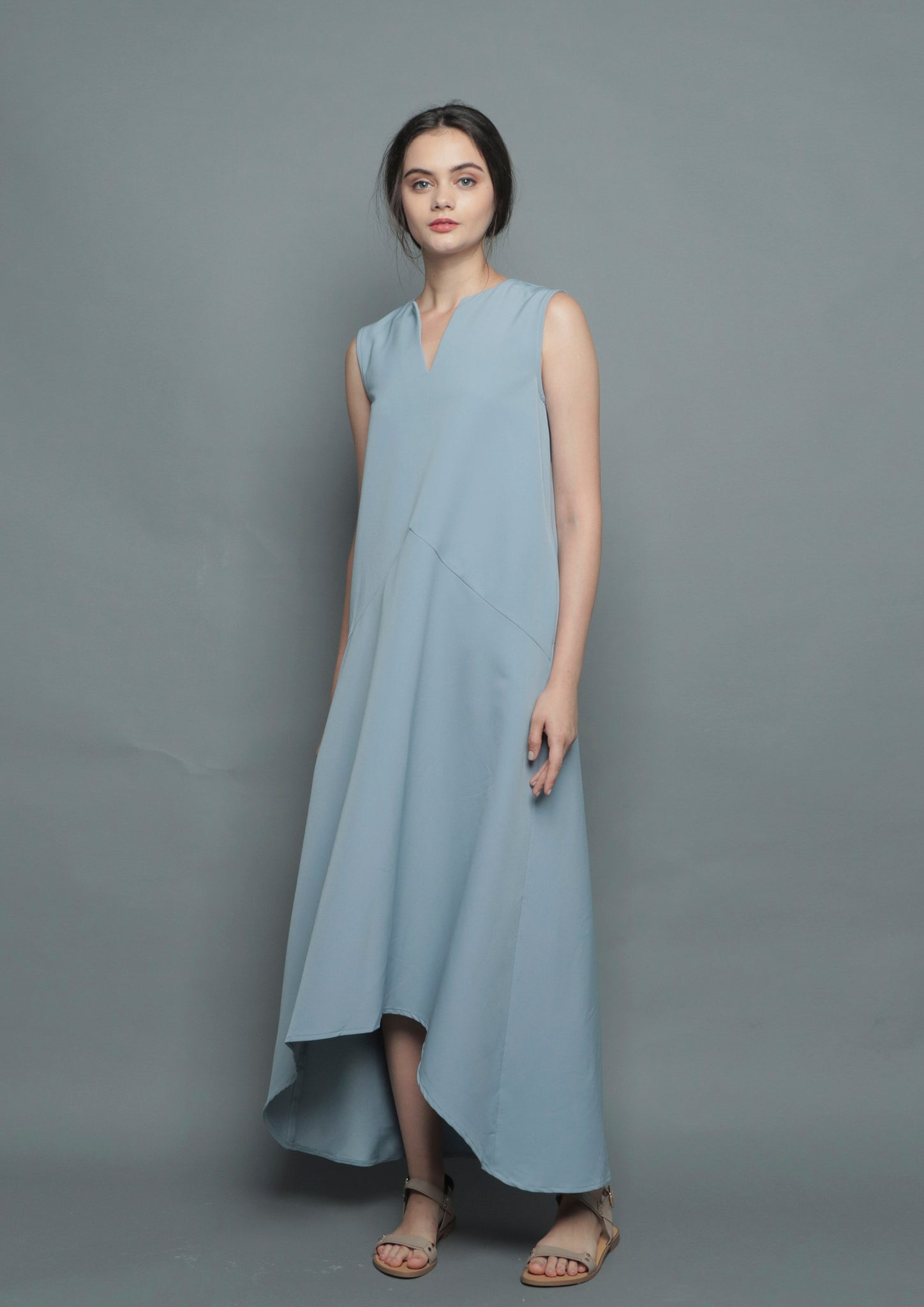 V-Neck Diphem Dress (Blue) - Moxie