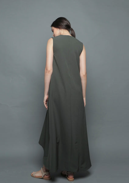 V-Neck Diphem Dress (Forest)