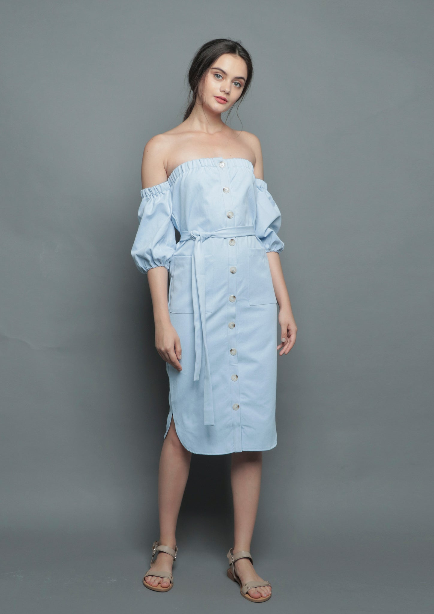 Off Shoulder Button Midi Dress (Blue)