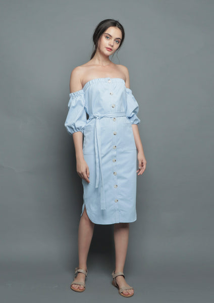 Off Shoulder Button Midi Dress (Blue) - Moxie