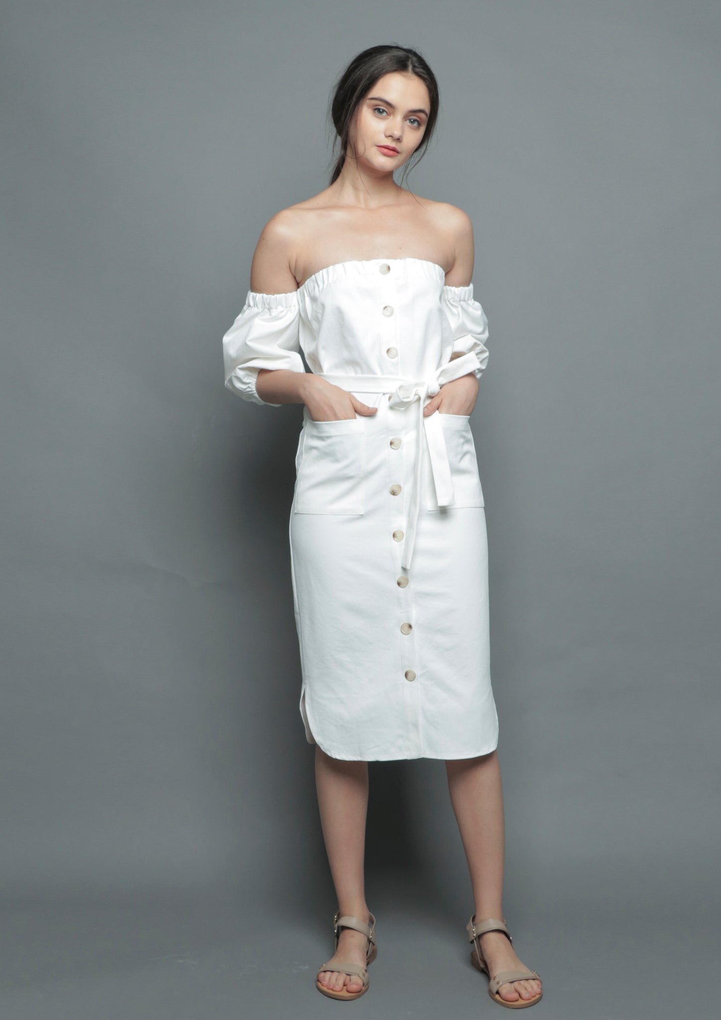 Off Shoulder Button Midi Dress (White)