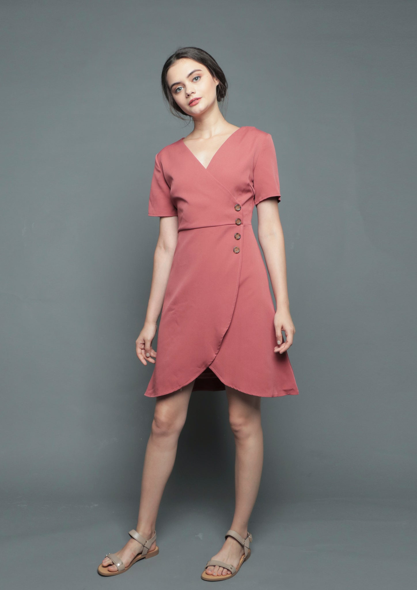 V-Neck Wrap Tulip Dress (Rust) - Moxie