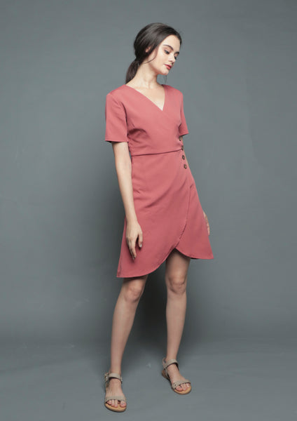 V-Neck Wrap Tulip Dress (Rust)