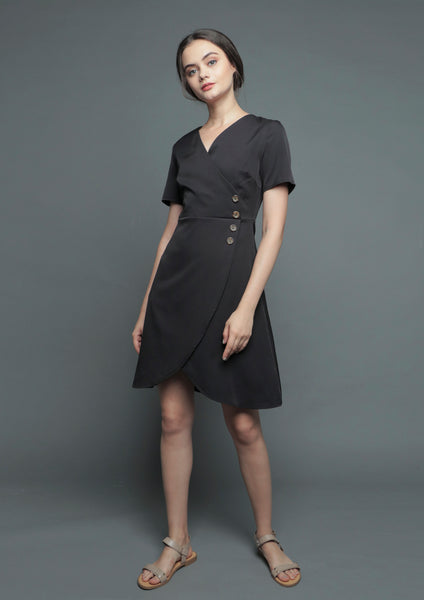 V-Neck Wrap Tulip Dress (Black) - Moxie