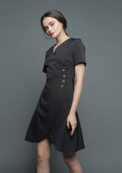V-Neck Wrap Tulip Dress (Black)