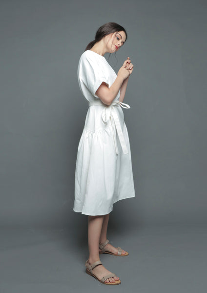 Folded Sleeve Midi Dress (White)