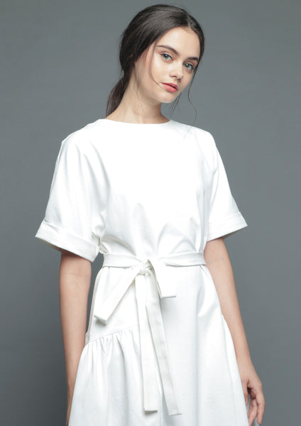 Folded Sleeve Midi Dress (White) - Moxie