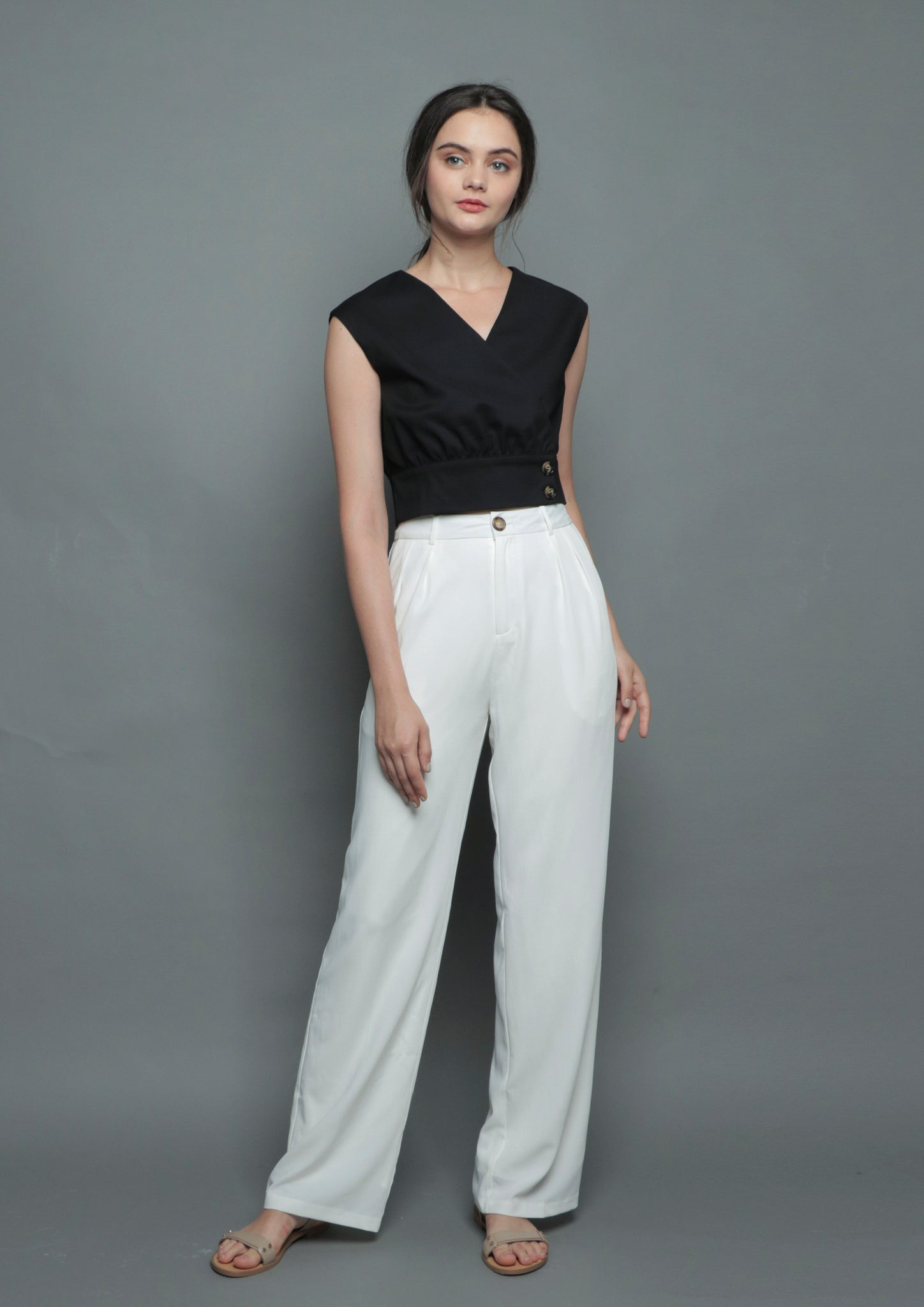 Straight Cut Pants (White)