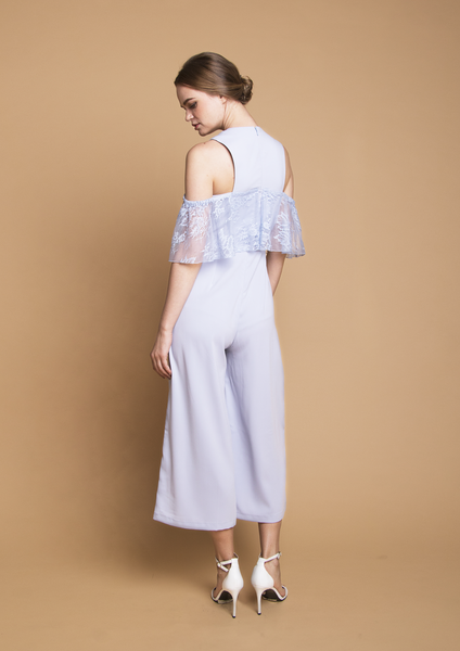 Lace Culottes Jumpsuit (Blue)