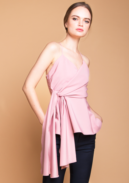 V-Neck Top With Tie Sash Pink
