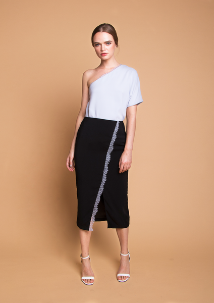 Midi Skirt with Lace Trim (Black)