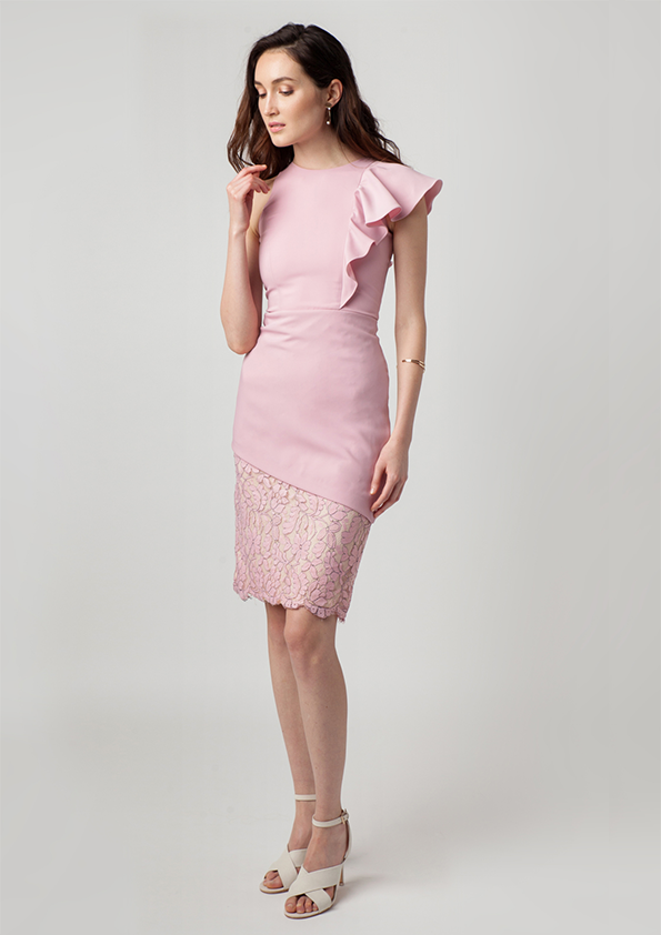 Serena Lace Asymmetrical Ruffle Dress (Pink)