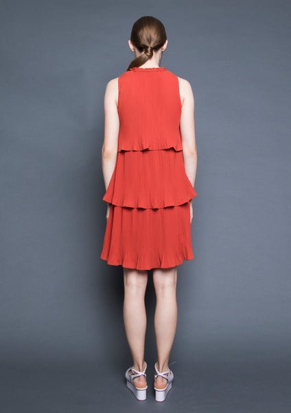 Tiered Pleated Dress (Burnt Orange)