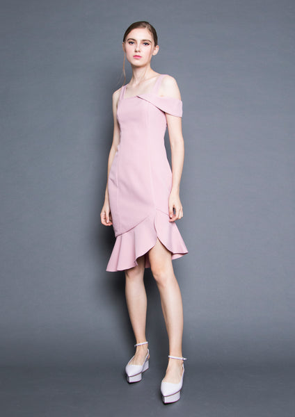 Ruffle Hem Fitted Dress (Pink) - Moxie